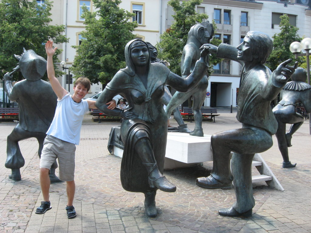 Horsing around with some statues in Luxembourg