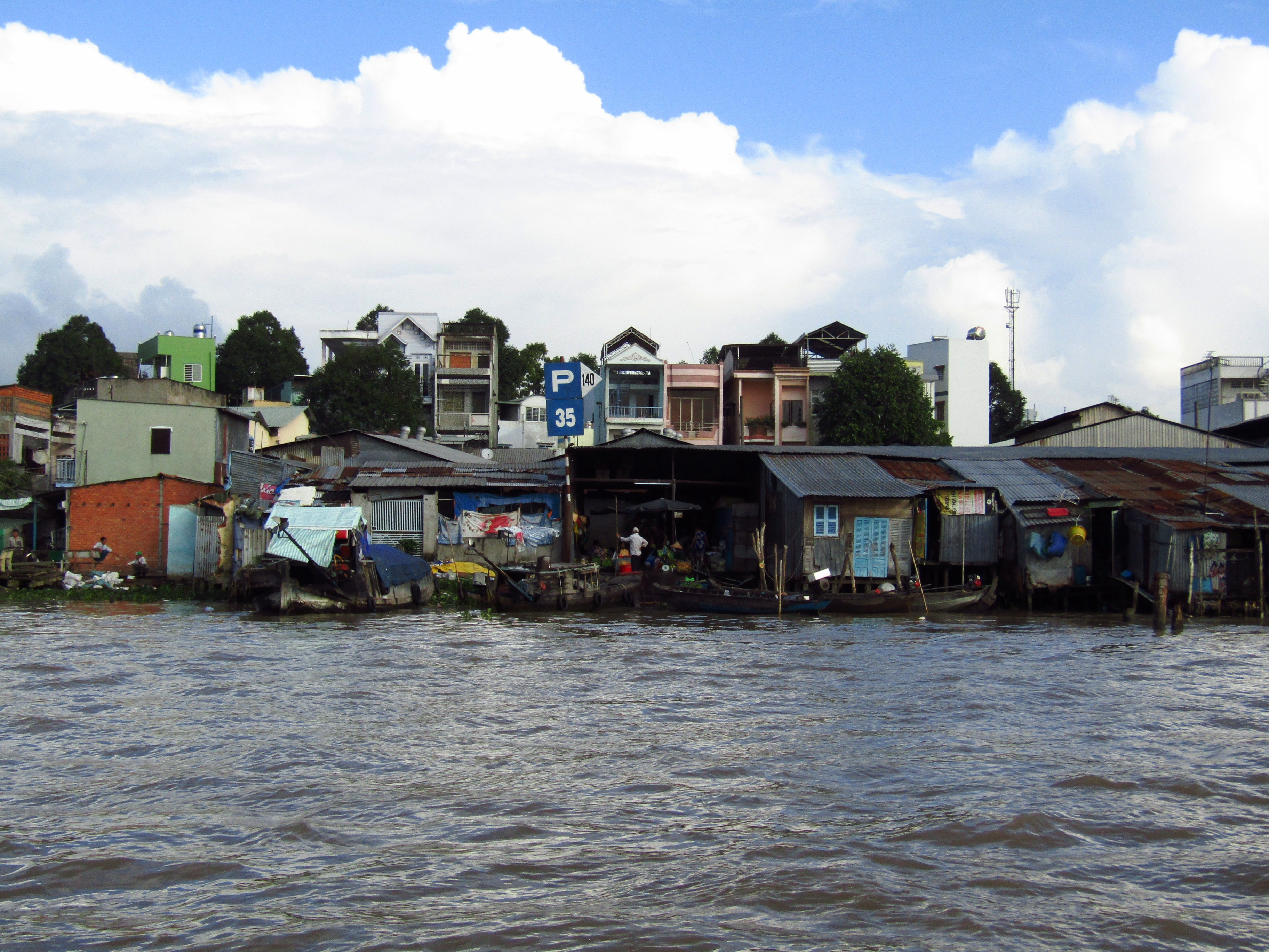 Dwellings on the bank of the Mekong river