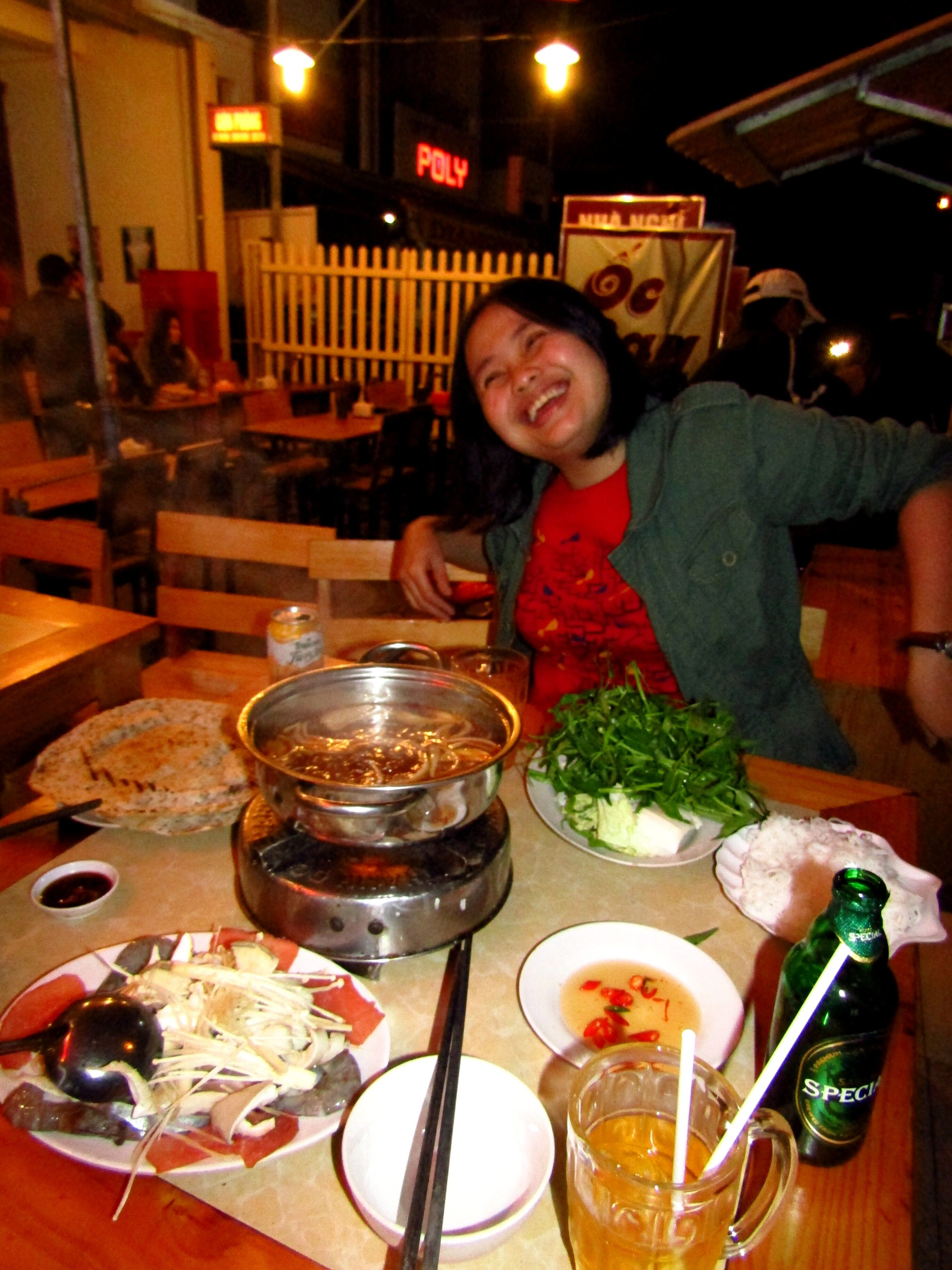 Tasting seafood hot pot with my host Lin in Dalat