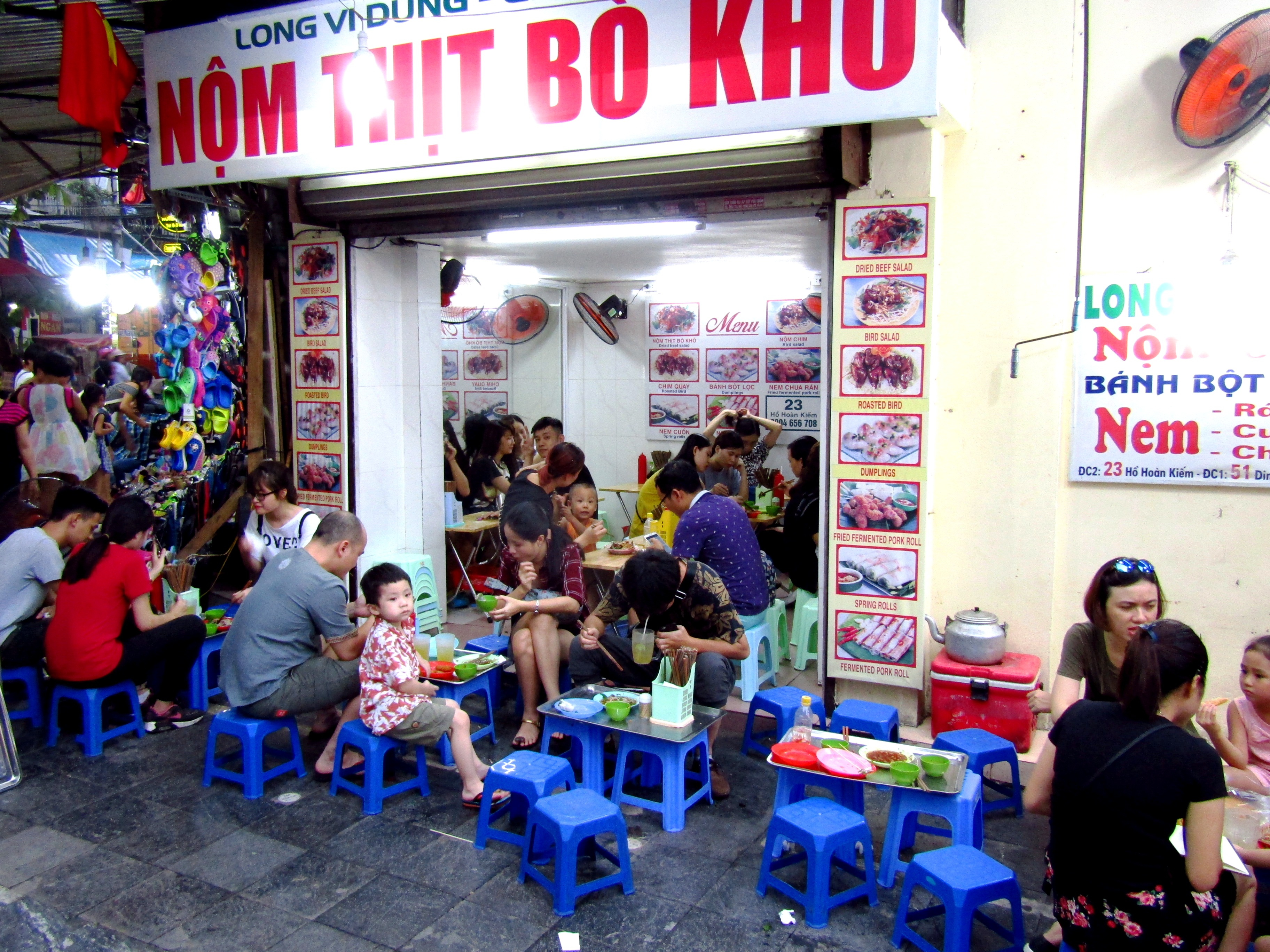 One of the many Vietnamese eateries lining the streets