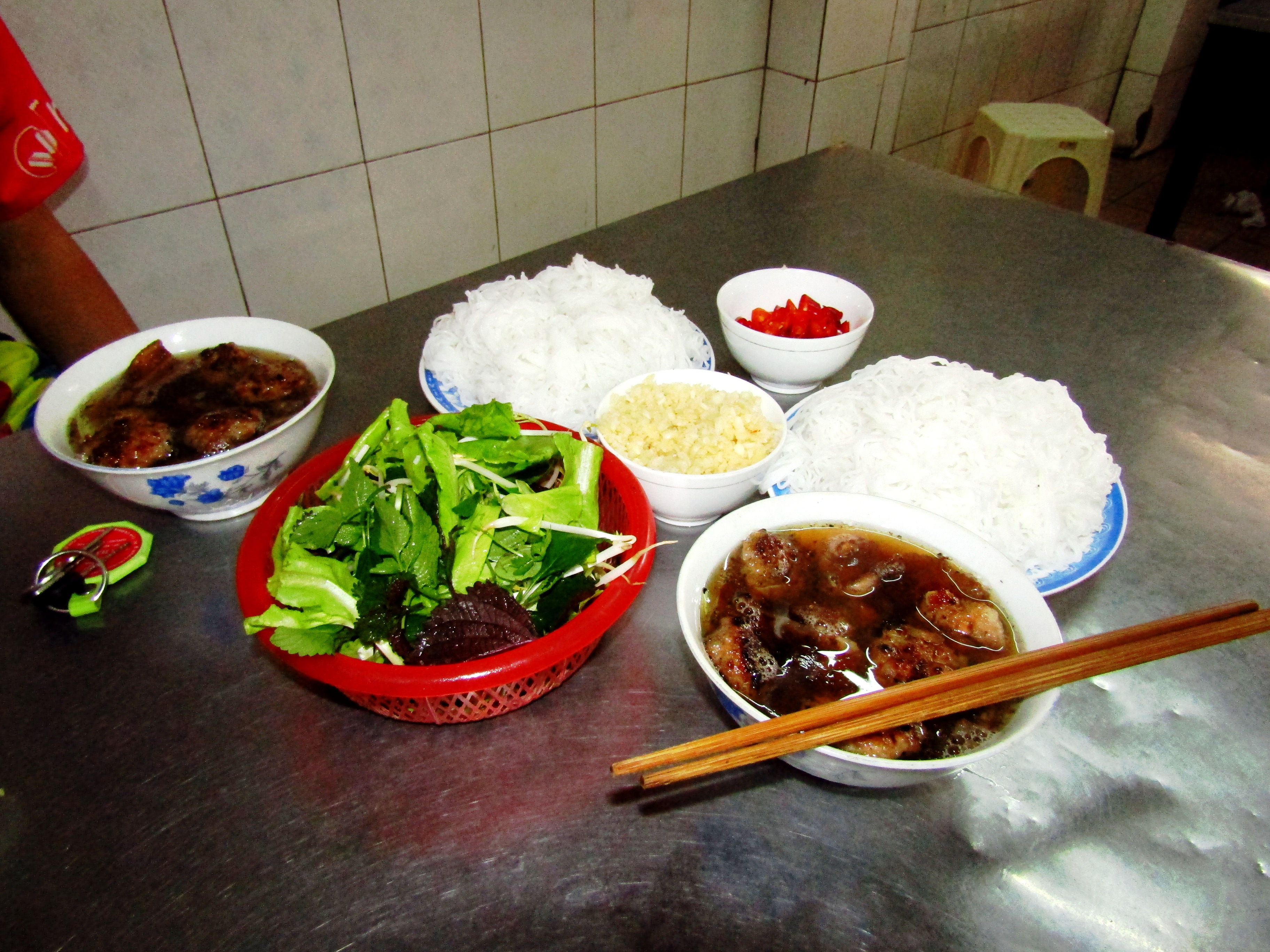 Bún chả - a dish of grilled pork and noodle